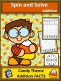 Candy Theme Addition Spin and Solve Math Centers