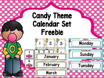 Candy Theme Calendar Set -Freebie