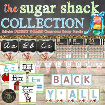 Dessert Classroom Theme Decor Bundle Editable