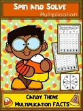 Candy Theme Multiplication Spin and Solve Math Centers
