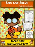 Candy Theme Subtraction Spin and Solve Math Centers
