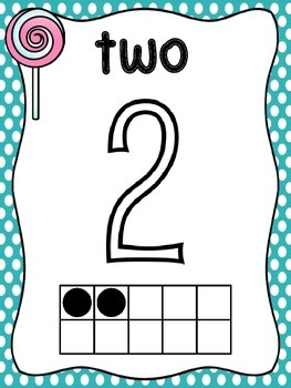 Candy Theme Ten Frame Number Posters