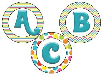 Candy Themed 4 inch Circular Bulletin Board Letters-9 designs and 4 colors!