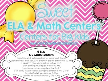 Candy Themed ELA and Math Centers for Upper Elementary