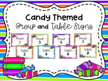 Candy Themed Group/Table Signs