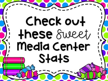 Candy Themed Library Media Center Stats Mini Bulletin Board Set