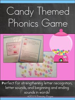 Candy Themed Phonics Game- Alphabet Literacy Center
