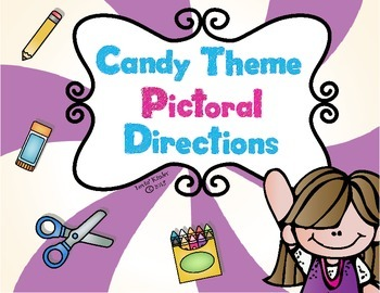 Candy Themed Pictoral Direction Cards