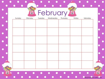 Candy Themed Printable Blank Calendars. Classroom Accessories.