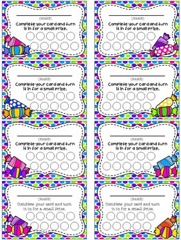 Candy Themed Punch Card Pack