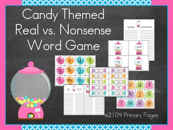 Candy Themed CVC Real vs. Nonsense Word Game (Word Families)