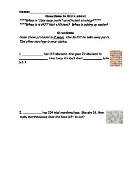 Candy Themed Subtraction Word Problems (take away parts or adding up strategies)