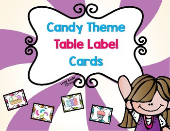 Candy Themed Table Label Cards
