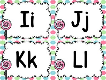 Candy Word Wall Letters & 200 Fry Words Editable