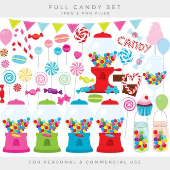 Candy clipart - sweets clip art gumball machine lollipops suckers macarons