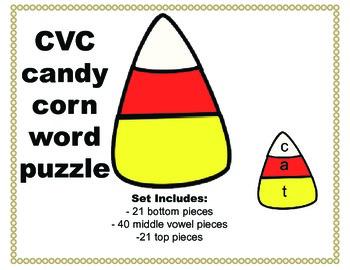 Candy corn CVC word puzzle