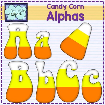 Candy corn alphas clipart {Bulletin Board letters}