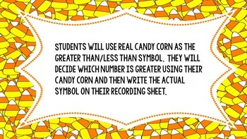 Candy corn comparing numbers