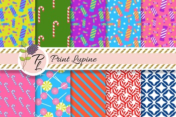 Candy stick and lollipop digital paper. Candy cane patterns, sugar sweetmeats.