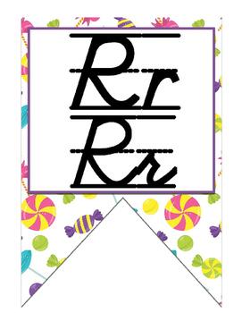Candy themed D'Nealian print and cursive Alphabet banner