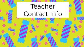 Candy themed Open house/meet the teacher power point - editable