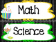 Candy themed Printable Black Polka Dot Classroom Subject Signs. Class Accessory.