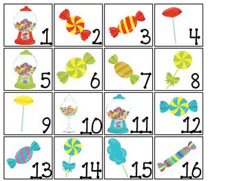 Candy themed Printable Calendar Pieces Classroom Bulletin