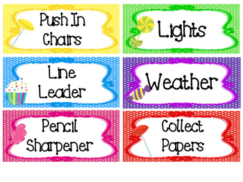 Candy themed Printable Class Jobs Labels Classroom Bulletin Board Set.