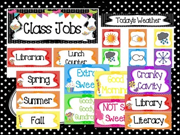 Candy themed Printable Classroom Accessories and Decor Bulletin Board Set.