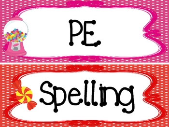Candy themed Printable Classroom Subject Signs. Class Accessories.