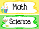 Candy themed Printable Classroom Subject Signs. Class Acce