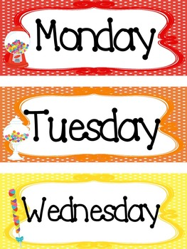 Candy themed Printable Days of the Week Classroom Bulletin Board Set.
