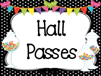 Candy themed Printable Hall Pass Sign and Hall Passes. Classroom  Management.