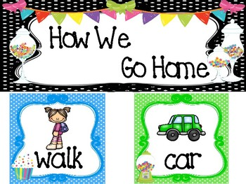 Candy themed Printable How We Go Home. Classroom  Management.