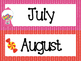 Candy themed Printable Month Classroom Bulletin Board Set.