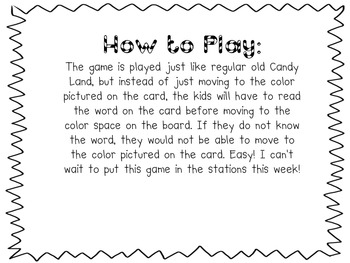 CandyLand Sight Word Game (1st Quarter Sight Words)