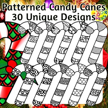 Candycane Coloring Clip Art Set Commercial and Personal Use