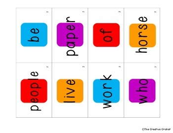 Candyland Cards - Unit 2 Sight Words (1st Grade Reading Street)