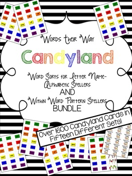 Candyland Cards for WTW--Alphabetic Spellers and Pattern Spellers BUNDLE