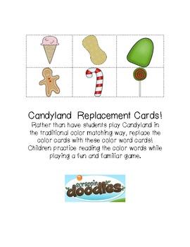Candyland Color Word Cards