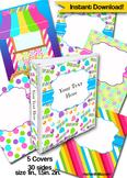 Candyland Editable Binder Cover Set of 5 Colors for Teacher Binders, Portfolios