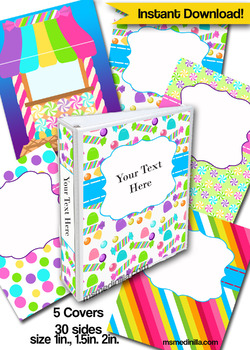 Candyland Editable Binder Cover Set of 5 Colors for Teacher Binders, Portfolios