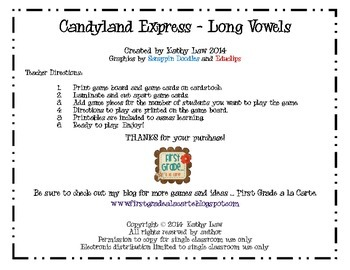 Candyland Express - Long Vowels/Vowel Teams