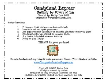 Candyland Express--Multiply by Powers of Ten