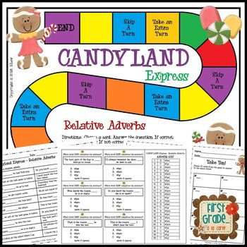 Candyland Express -- Relative Adverbs Game