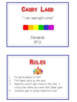 Candyland Sight Word Folder Game - Dolch Word - Primer