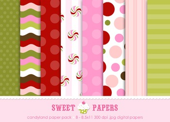 Candyland Holiday Digital Paper Pack - by Sweet Papers