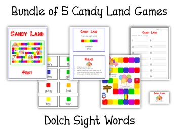 Candyland Sight Word Card Folder Game - 5 Dolch Word Games Pre Primer to Third!