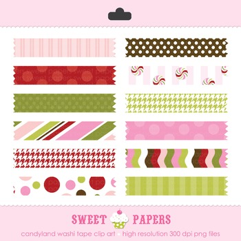 Candyland Washi Tape Digital Paper Pack - by Sweet Papers