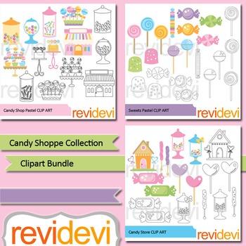 Candyland clipart: Candy shop clip art bundle (3 packs)